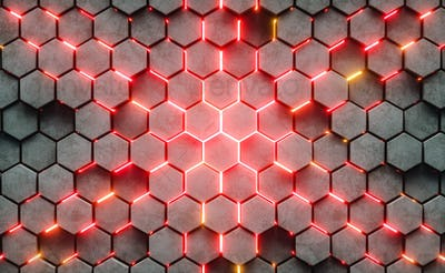 3D Illustration. Hexagonal abstract background.
