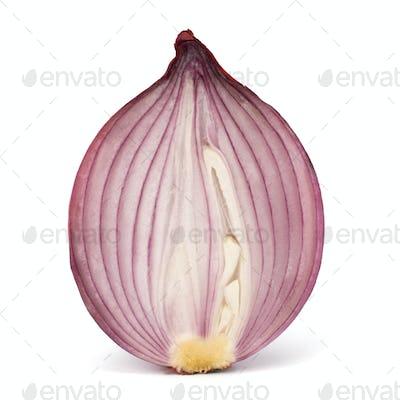 Red sliced onion half