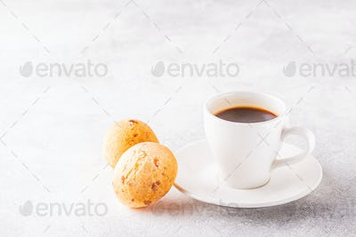 Traditional Brazilian breakfast - cheese bread and coffee.