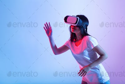 3D simulation, have fun, testing new device, digital technology and modern entertainment