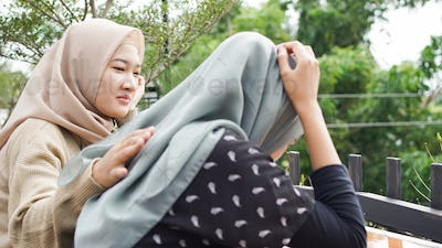 Friends do not give up. Sad girl and supporting friends to solve a problem. asian people
