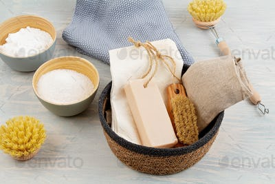 Natural organic reusable household cleaning products. Zero waste, ecological, eco-friendly