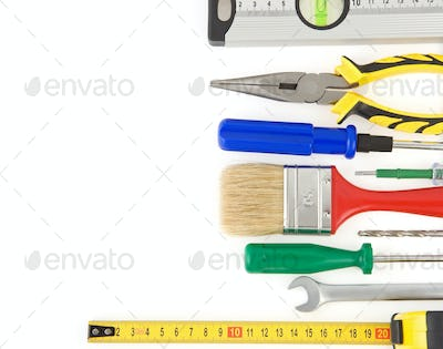set of tools and instruments isolated on white