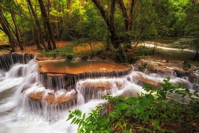 Beautiful waterfall in the deep forest,Pha Tat Waterfall, Kanchanaburi province