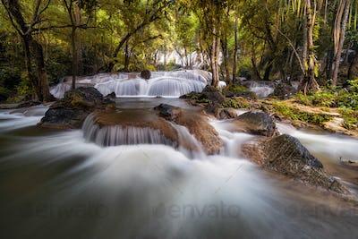Beautiful waterfall in the deep forest,Pha Tat Waterfall, Kanchanaburi