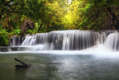 Beautiful waterfall in the forest, huay mae khamin waterfall, Kanchanaburi province
