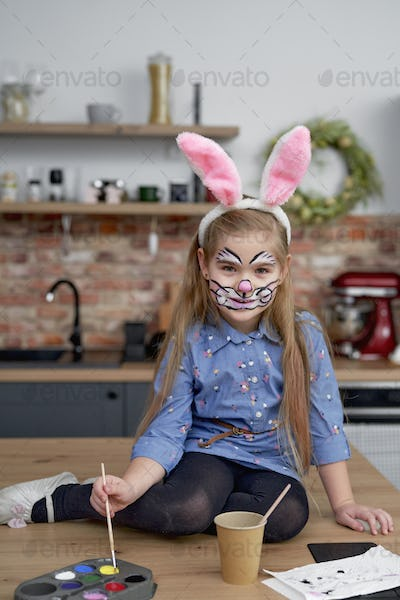 Portrait of girl dressed as an Easter Bunny