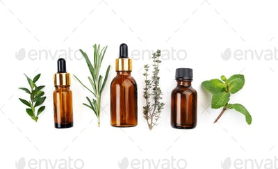 Dropper bottles with oil and herbs on white table flat lay view. Herbal cosmetics concept