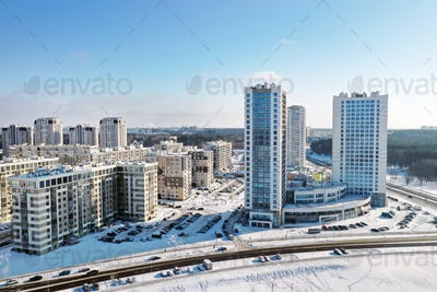 View from the height of the new microdistrict in the city of Minsk in winter.Architecture of the