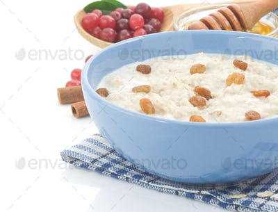 oatmeal and milk isolated on white