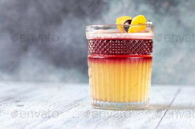 Glass of New York Sour cocktail