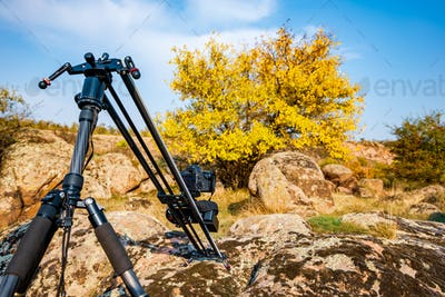Camera on slider shots hills in the Carpathians mountains