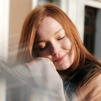 Embrace being single, Art of Being Happily Single. Close up portrait of beautiful young red-haired