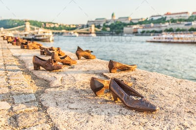 """""""Shoes on the Danube bank"""" - Monument as a memorial of the victims of the Holocaust."""