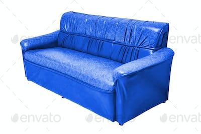 Vintage leather sofa isolated.