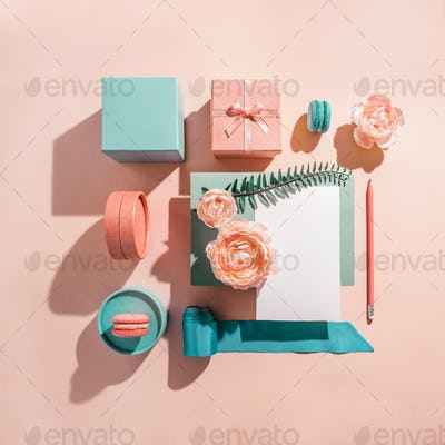 Geometric mockup composition for greeting invitation, card with flowers in pastel colors
