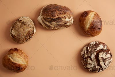 Various types of bread high in fiber vitamins, minerals based on natural ferments and organic flour.