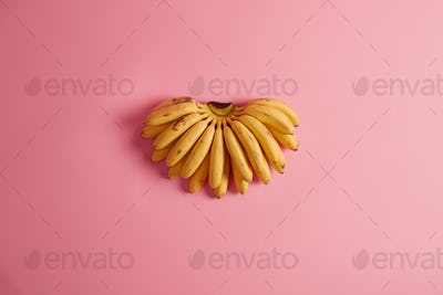 Most commonly consumed fruits. Bunch of yellow bananas containing great variety of potassium, vitami