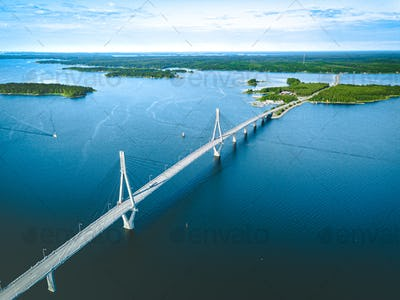 Aerial view of cable-stayed Replot Bridge, suspension bridge in Finland