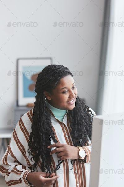 Overweight African American Woman Enjoying Dress Up