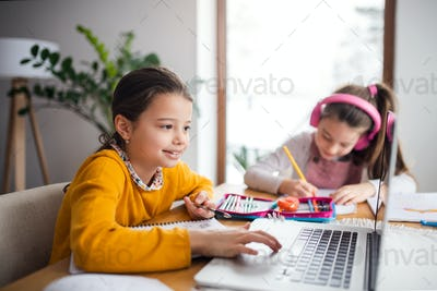 Two school girls sisters with laptop indoors at home, distance learning.