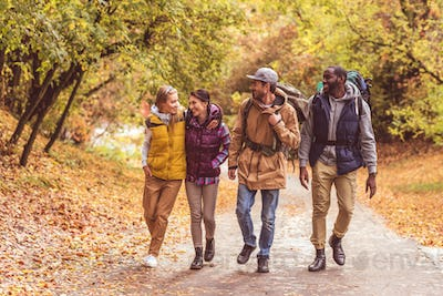 Group of happy young backpackers walking in autumn forest