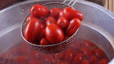 Homemade  tomato sauce production.