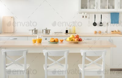 Vitamins, fruits, health care and stylish cuisine in new rent flat