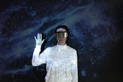 Woman wearing AR smart glasses futuristic technology