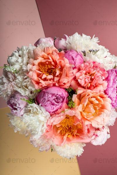 Amazing Fresh bunch of pink peonies