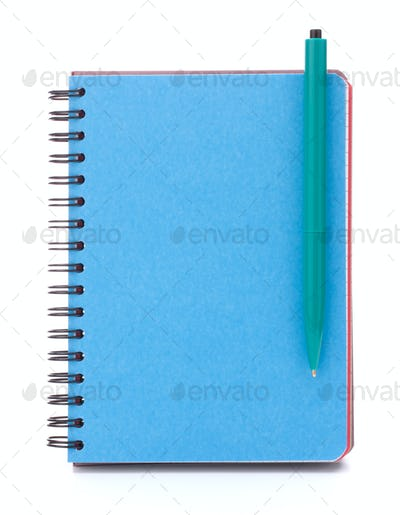 Blue cover notebook with  pen