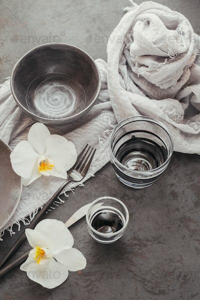 Elegance table setting in dark grey color