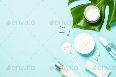 Collagen powder dietary supplement at blue.