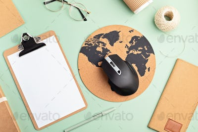 Recycable stationary and office eco friendly, plastic free supplies, home office desktop