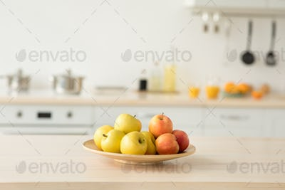 Food and drinks in interior of minimal modern kitchen