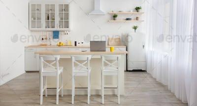Modern home blog, remote work and workspace in kitchen