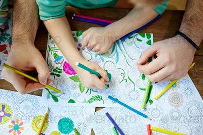 Coloring with crayons