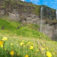 famous Seljalandsfoss waterfall of Iceland