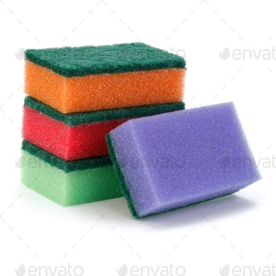 Stacked sponges isolated on white background cutout