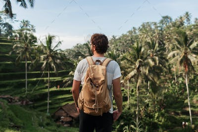 Back view of man explorer  with travel backpack
