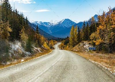 Stewart-Cassiar Highway 37 in fall BC Canada
