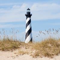 Cape Hatteras Lighthouse seen from beach NC USA