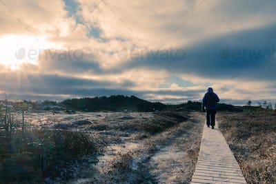 Hiker on wooden boardwalk frozen winter landscape