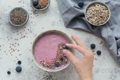 Pink Yogurt Smoothie Bowl made with Fresh Blueberry and Seeds