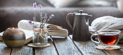 still life tea drinking in the living room