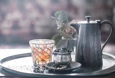 still life with tea pot and tea