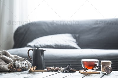 cozy living room with tea on the table