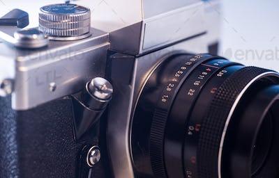 retro parts of the old camera, closeup