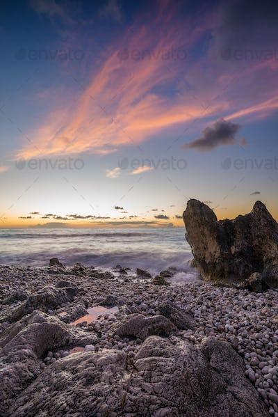 Avali beach at sunset