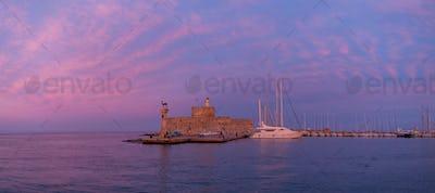 Agios Nikolaos fortress on the Mandraki harbour of Rhodes